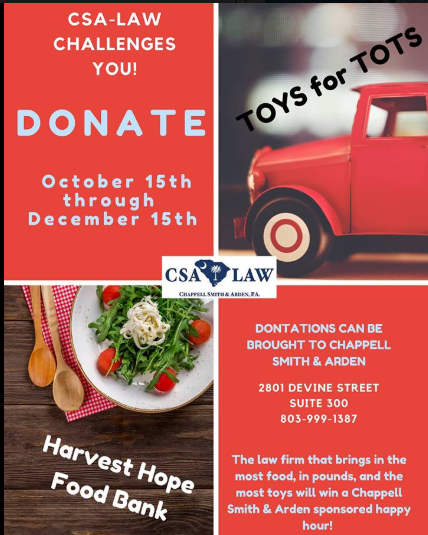 Columbia Personal Injury Law Firm Sponsoring Holiday Food & Toy Drive